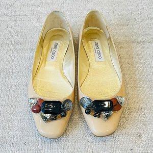 Jimmy Choo Jewelled Patent Leather Flats